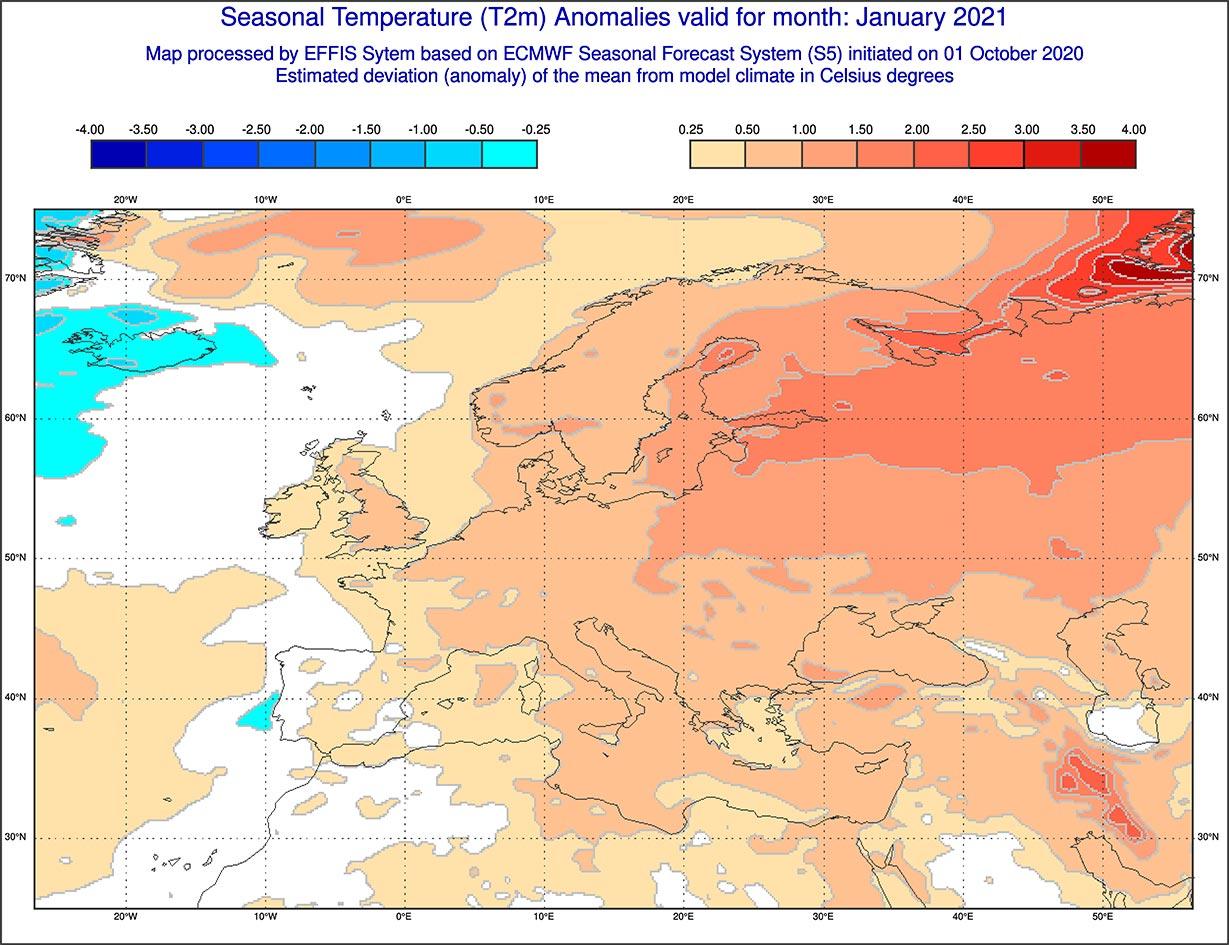 Anomalie di temperature previste dal modello ECMWF per gennaio 2021 - effis.jrc.ec.europa.jpg