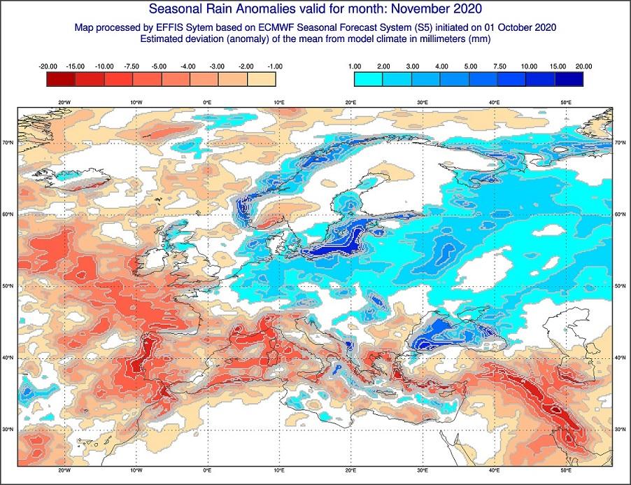 Anomalie di precipitazione previste per novembre 2020 in Italia