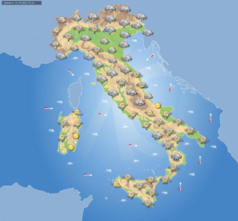 PREVISIONI METEO domani 15 Ottobre: Giornata all'insegna del MALTEMPO in tutta ITALIA, i dettagli