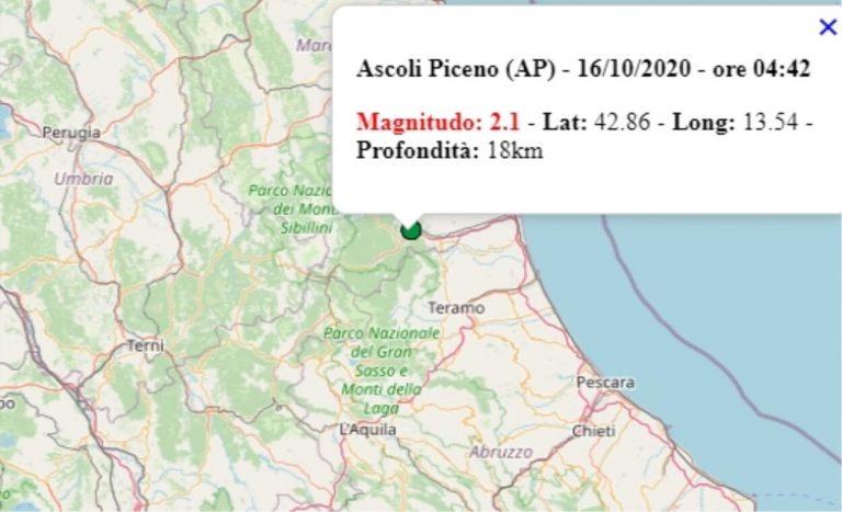 Terremoto nelle Marche oggi, venerdì 16 ottobre 2020, scossa M 2.1 ad Ascoli Piceno – Dati Ingv