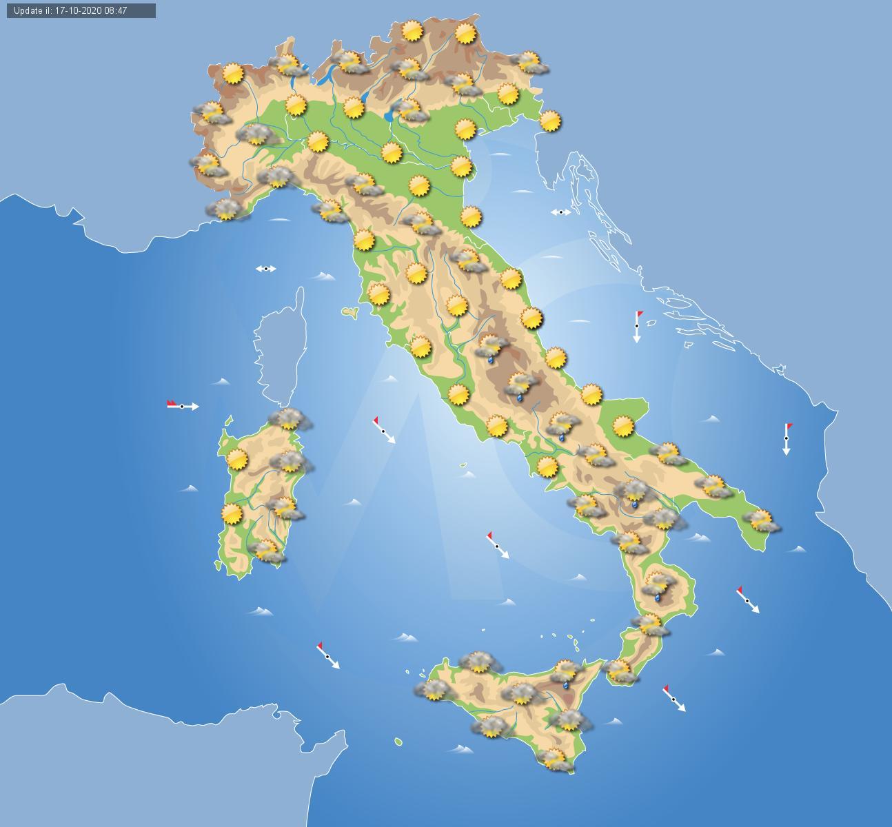 Cartina Meteorologica Dell Italia.Previsioni Meteo Domani 18 Ottobre Tempo In Miglioramento Salvo Residue Piogge