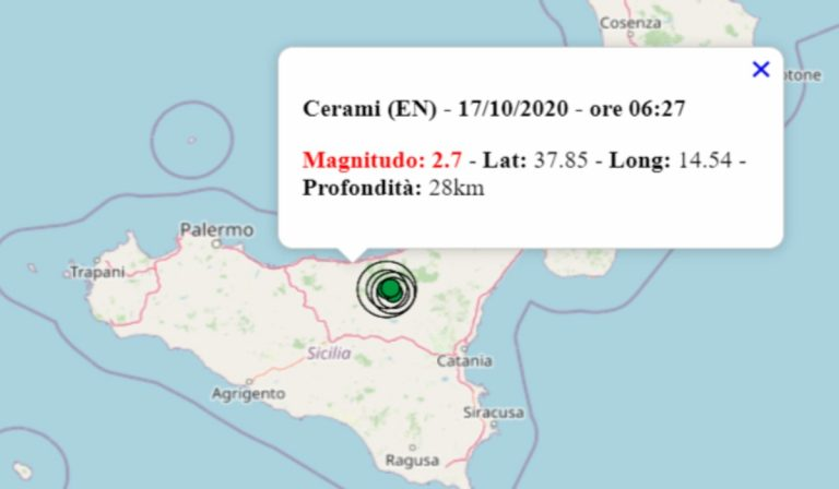 Terremoto oggi in Sicilia, 17 ottobre 2020: sequenza di scosse in provincia di Enna   Dati INGV
