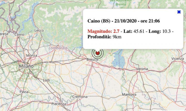 Terremoto in Lombardia oggi, mercoledì 21 ottobre 2020: scossa M 2.7 in provincia di Brescia | Dati INGV