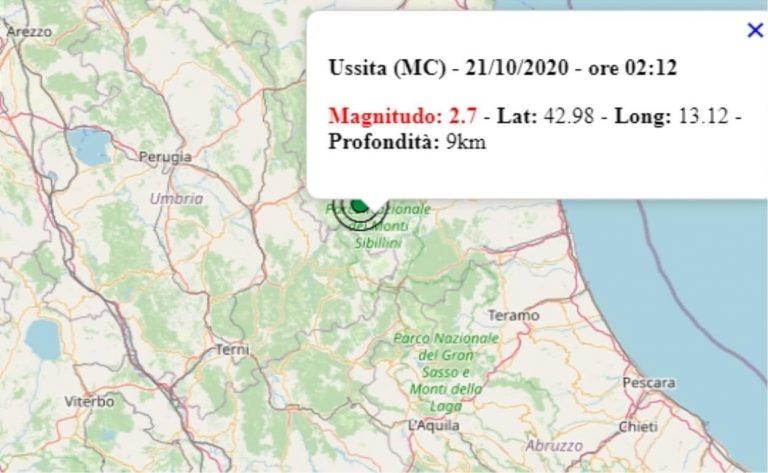 Terremoto nelle Marche oggi, 21 ottobre 2020, scossa M 2.7 provincia di Macerata – Dati Ingv