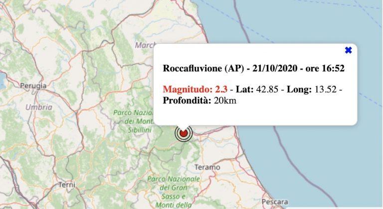 Terremoto nelle Marche oggi, mercoledì 21 ottobre 2020: scossa M 2.3 in provincia di Ascoli Piceno | Dati INGV