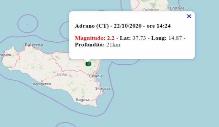 Terremoto oggi in Sicilia, 22 ottobre 2020: scossa M 2.2 in provincia Catania – Dati INGV