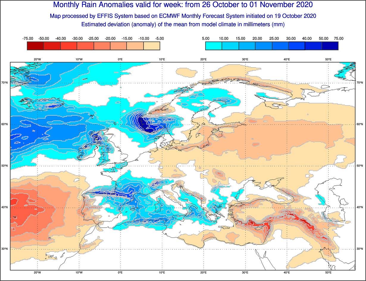 Anomalie di precipitazione previste tra il 26 ottobre e il 1 novembre 2020 - effis.jrc.ec.europa.eu.jpg