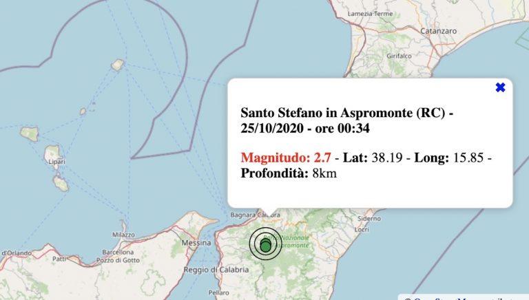 Terremoto in Calabria oggi, domenica 25 ottobre 2020: scossa M 2.7 in provincia Reggio | Dati INGV
