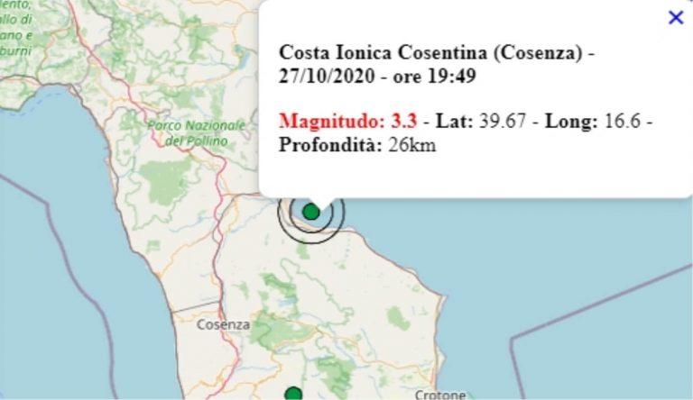 Terremoto in Calabria oggi, 27 ottobre 2020, scossa M 3.3 avvertita in provincia di Cosenza – Dati Ingv