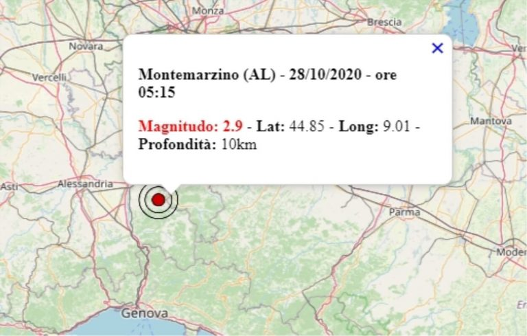 Terremoto in Piemonte oggi, mercoledì 28 ottobre 2020: scossa M 2.9 in provincia di Alessandria   Dati INGV
