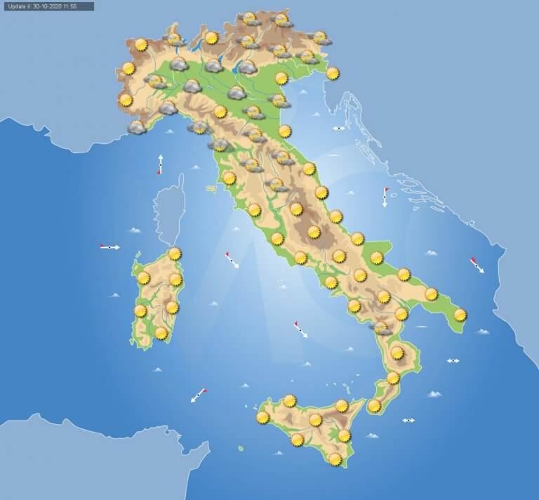 PREVISIONI METEO domani 31 Ottobre: Sole e caldo anomalo al sud ITALIA, nebbie al nord, Toscana e Umbria