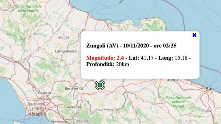 Terremoto in Campania oggi, martedì 10 novembre 2020: scossa M 2.4 provincia di Avellino. Dati INGV
