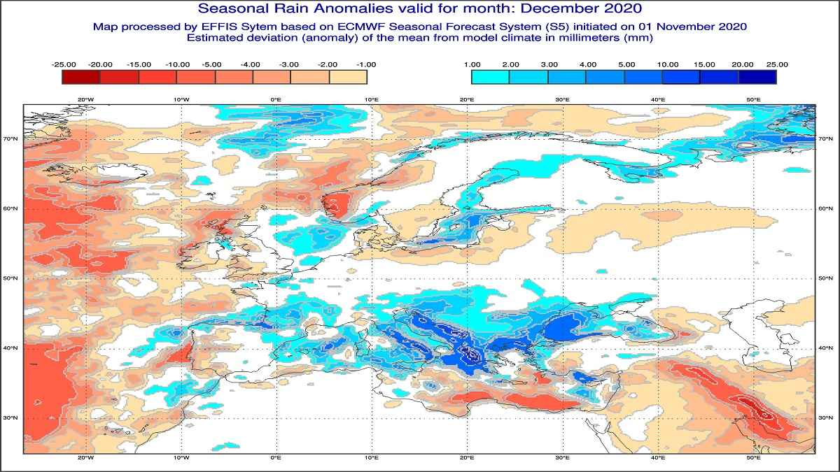 Dicembre 2020 anomalie di precipitazione previste dal modello ECMWF - effis.jrc.ec.europa.eu