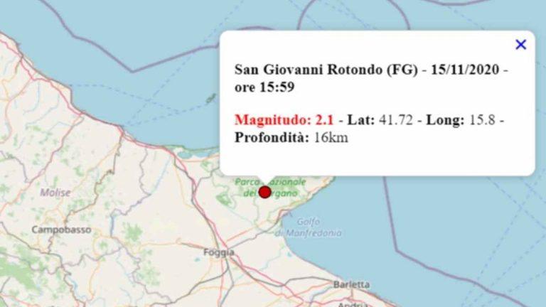 Terremoto oggi in Puglia, 15 novembre 2020: scossa M 2.1 in provincia Foggia – Dati INGV