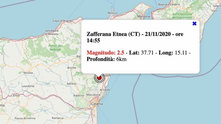 Terremoto in Sicilia oggi, sabato 21 novembre 2020: scossa M 2.5 in provincia di Catania – Dati INGV