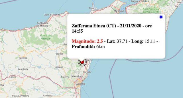 Terremoto in Sicilia oggi, sabato 21 novembre 2020: scossa M 2.5 in provincia di Catania