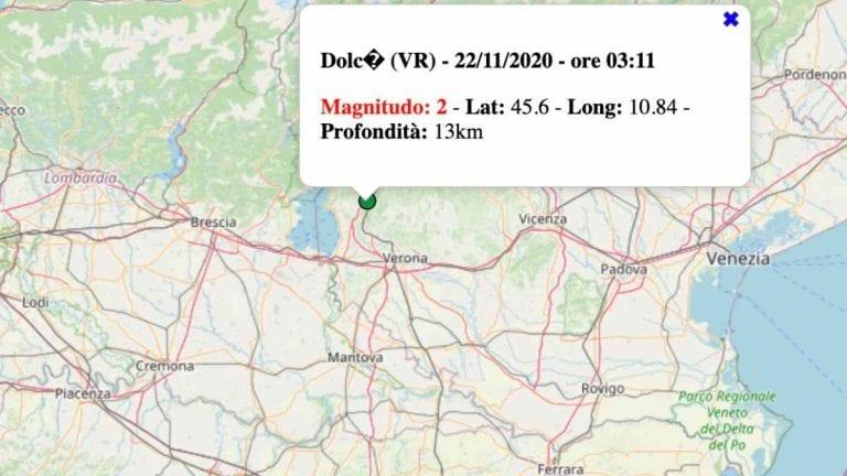 Terremoto in Veneto oggi, domenica 22 novembre 2020: scossa M 2.0 in provincia di Verona | Dati INGV