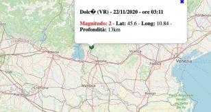 Terremoto in Veneto oggi, domenica 22 novembre 2020: scossa M 2.0 in provincia di Verona