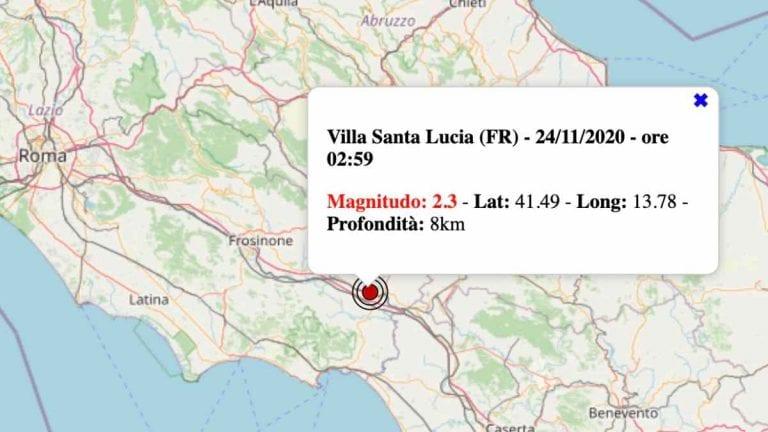 Terremoto nel Lazio oggi, martedì 24 novembre 2020: scossa M 2.4 in provincia di Frosinone | Dati INGV