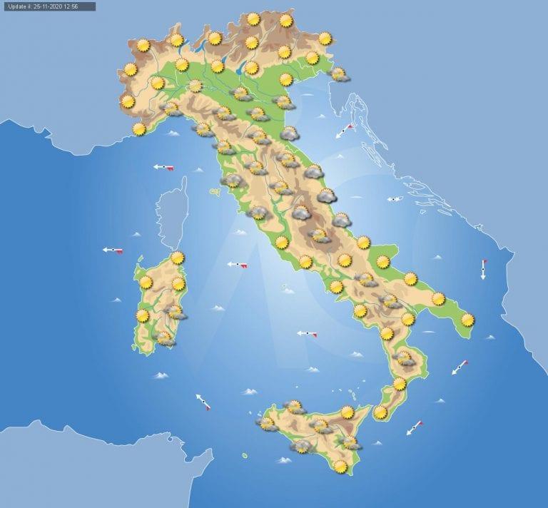 PREVISIONI METEO domani 26 Novembre 2020: Anticiclone sempre presente in Italia, locali disturbi solo sulla Sicilia