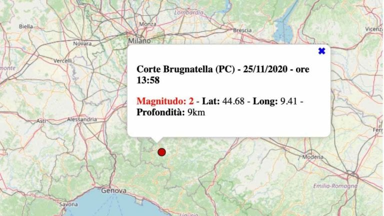 Terremoto in Emilia-Romagna oggi, mercoledì 25 novembre 2020: scossa M 2.0 in provincia di Piacenza | Dati INGV