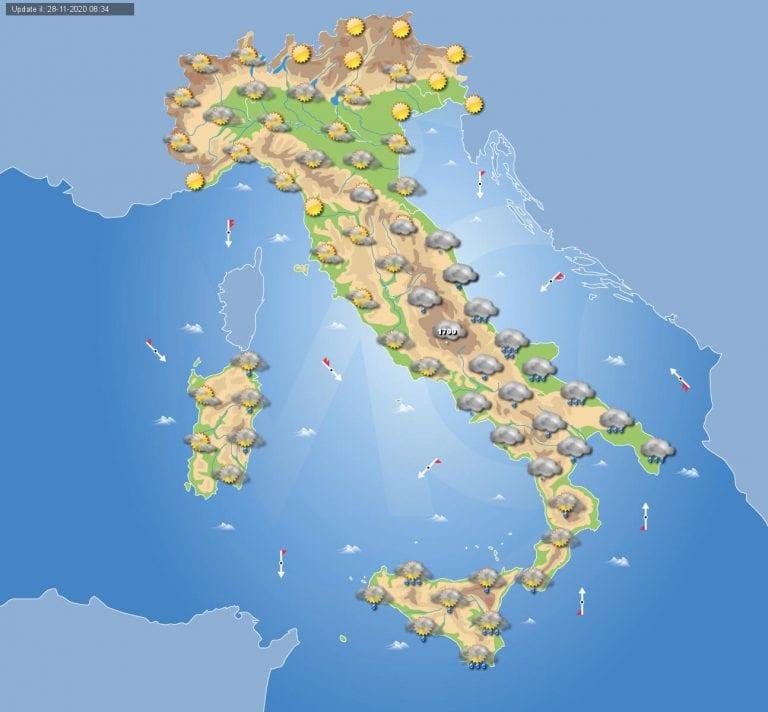 PREVISIONI METEO domani 29 Novembre 2020: il MALTEMPO sferza ancora il sud ITALIA, ecco dove