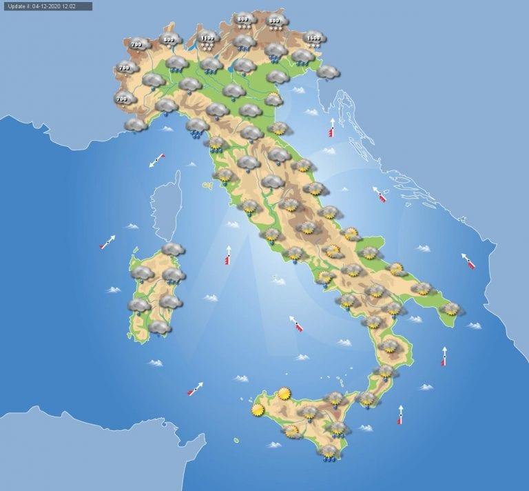 PREVISIONI METEO domani 5 Dicembre 2020: Giornata di forte MALTEMPO in gran parte dell'ITALIA