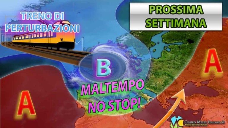 METEO – TRENO di PERTURBAZIONI interesserà l'ITALIA con VAGONATE di NEVE in montagna e NUBIFRAGI