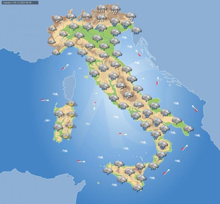 PREVISIONI METEO domani 6 Dicembre 2020: tempo perturbato in tutta Italia, temperature in calo