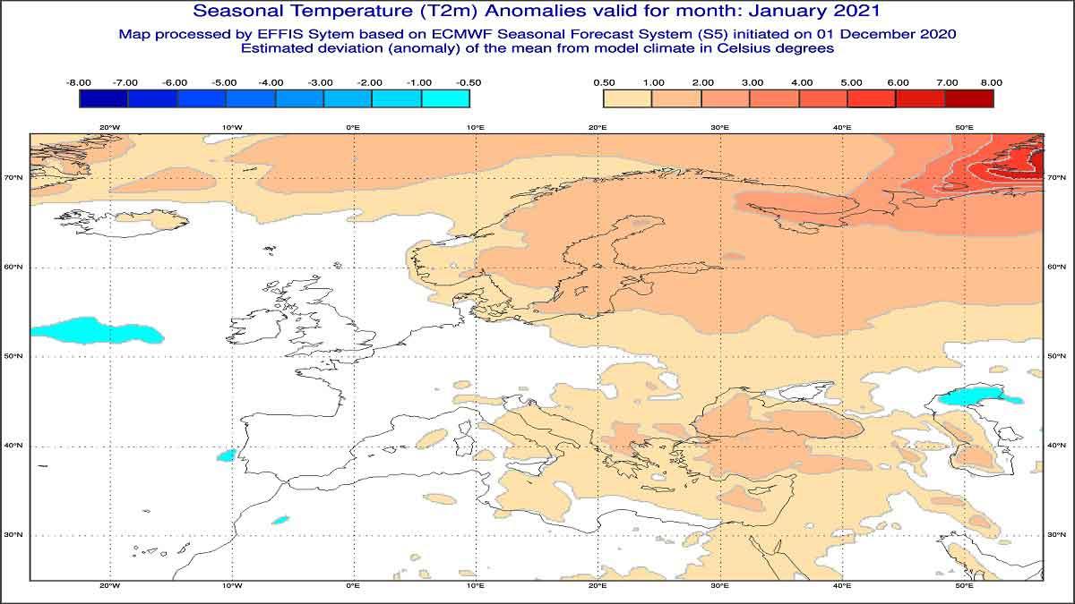 Anomalie di temperature previste dal modello ECMWF per gennaio 2021 - effis.jrc.ec.europa.eu