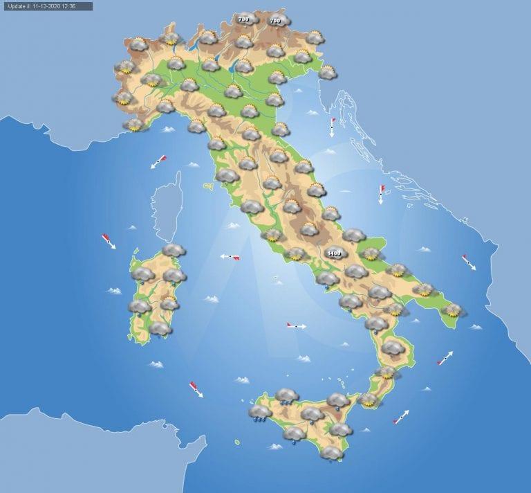 PREVISIONI METEO domani 12 Dicembre 2020: Molte nubi in transito in Italia e piogge associate in queste regioni