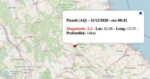 Terremoto in Abruzzo oggi, venerdì 11 dicembre 2020: scossa M 2.2 in provincia de L'Aquila