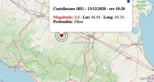 Terremoto oggi in Emilia-Romagna, domenica 13 dicembre 2020: scossa M 3.3 in provincia di Reggio Emilia