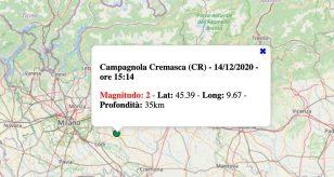 Terremoto in Lombardia oggi, lunedì 14 dicembre 2020: scossa M 2.0 in provincia di Cremona
