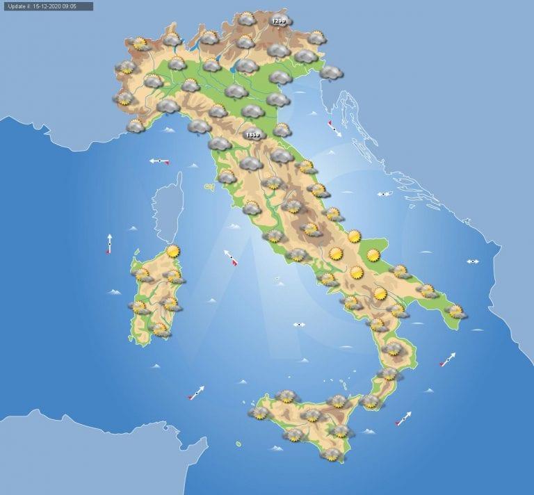 PREVISIONI METEO domani 16 Dicembre 2020: piogge in arrivo al nord Italia e Toscana, i dettagli
