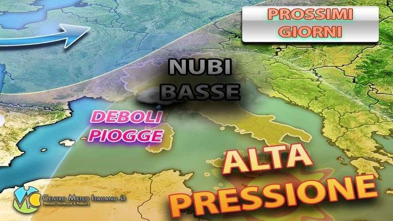 METEO ITALIA – PIOGGE sparse su queste regioni, poi anticiclone fino al weekend