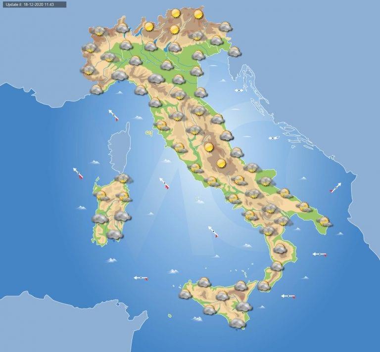 PREVISIONI METEO domani 19 Dicembre 2020: nuvolosità in aumento in ITALIA e qualche pioggia in arrivo