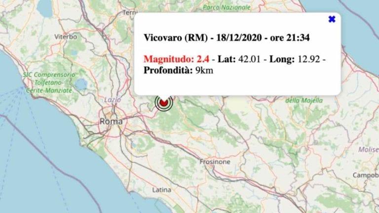 Terremoto nel Lazio oggi, venerdì 18 dicembre 2020: scossa M 2.4 in provincia di Roma | Dati INGV