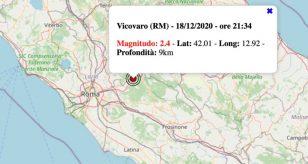 Terremoto nel Lazio oggi, venerdì 18 dicembre 2020: scossa M 2.4 in provincia di Roma