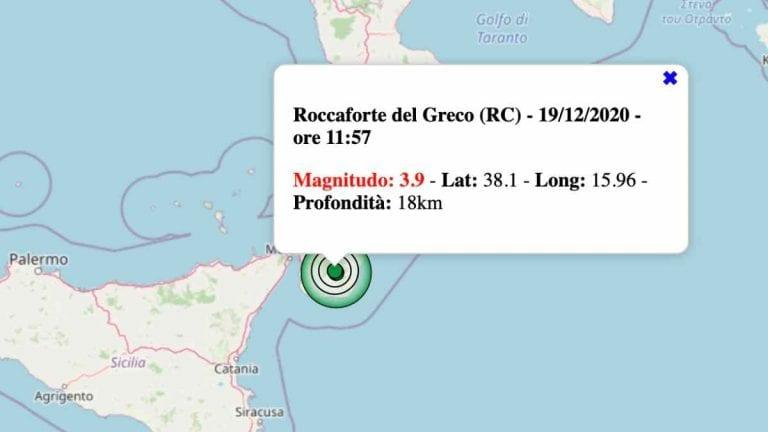 Terremoto in Calabria oggi, 19 dicembre 2020: scossa M 3.9 in provincia di Reggio Calabria | Dati INGV