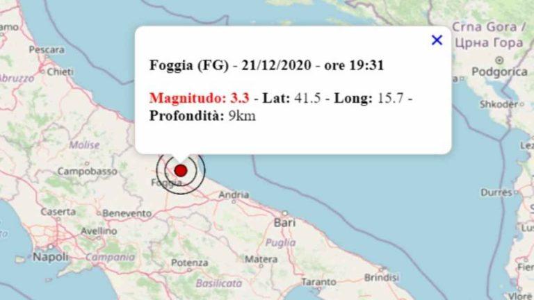 Terremoto oggi in Puglia, 21 dicembre 2020: scossa M 3.3 in provincia di Foggia – Dati INGV