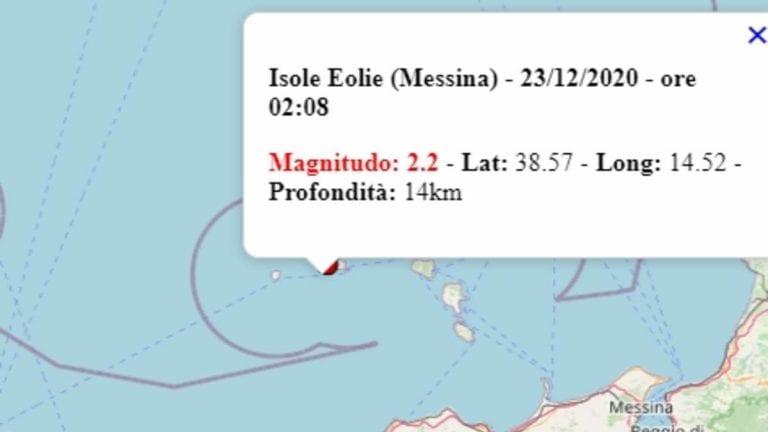 Terremoto in Sicilia oggi, mercoledì 23 dicembre 2020: scossa M 2.4 alle isole Eolie | Dati Ingv