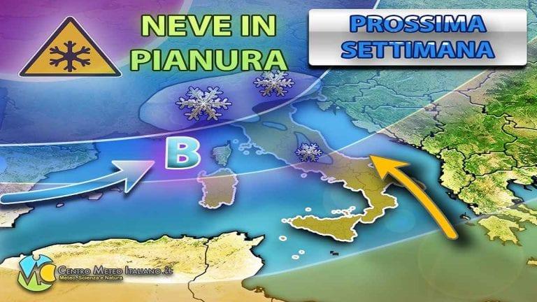 METEO ITALIA – MALTEMPO con piogge e NEVE fino a bassa quota, nei prossimi giorni attesa fino in PIANURA; i dettagli