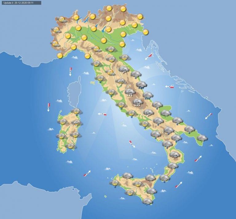 PREVISIONI METEO domani 26 Dicembre 2020: vortice freddo in ITALIA con piogge e neve a bassa quota