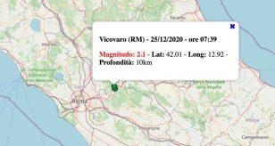 Terremoto nel Lazio oggi, venerdì 25 dicembre 2020: scossa M 2.1 in provincia di Roma
