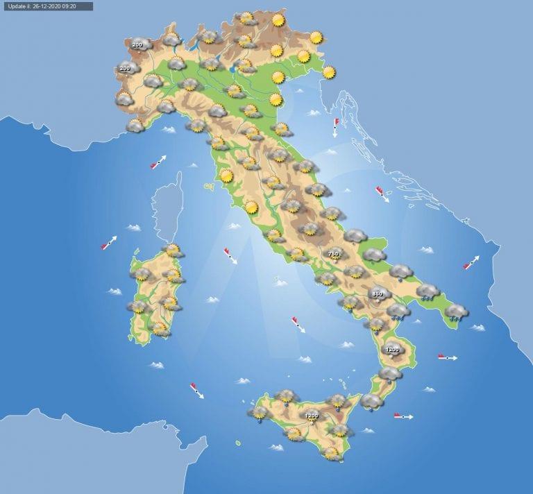 PREVISIONI METEO domani 27 Dicembre 2020: giornata invernale con nevicate fino a quote basse in gran parte dell'ITALIA