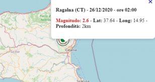 Terremoto in Sicilia oggi, 26 dicembre 2020, scossa M 2.6 in provincia di Catania
