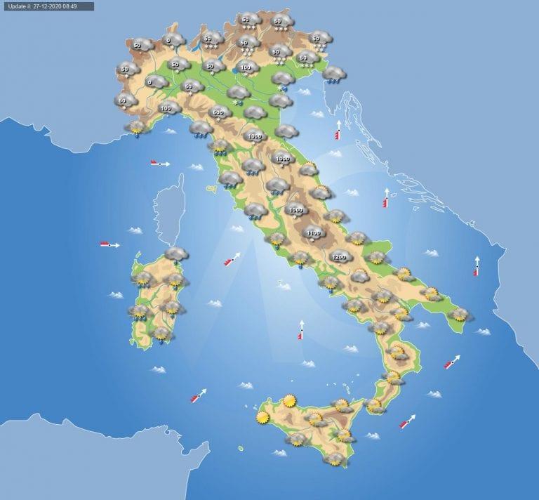PREVISIONI METEO domani 28 Dicembre 2020: maltempo e NEVE in pianura in ITALIA, su alcune zone ABBONDANTE