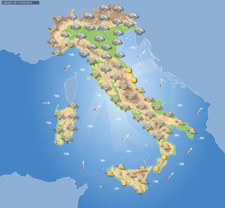 PREVISIONI METEO domani 29 Dicembre 2020: tempo instabile in ITALIA con piogge e neve