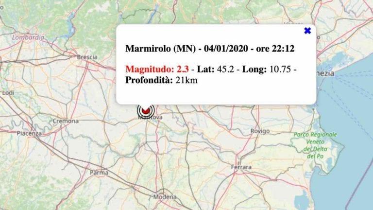 Terremoto in Lombardia oggi, lunedì 4 gennaio 2021: scossa M 2.3 in provincia di Mantova | Dati INGV